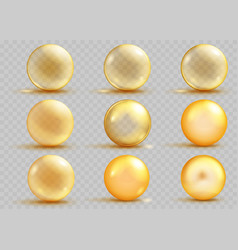 set of transparent and opaque yellow spheres vector image