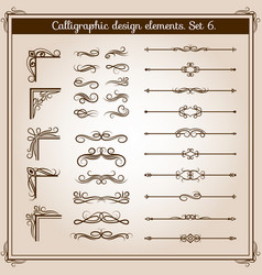 vintage linear ornate decorative elements vector image
