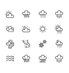 Weather element black icon set on white bg vector