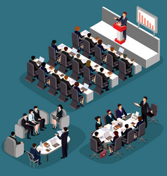 3d flat isometric business vector image vector image