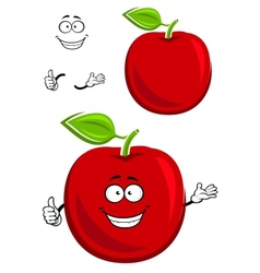Red apple fruit character showing thumb up vector