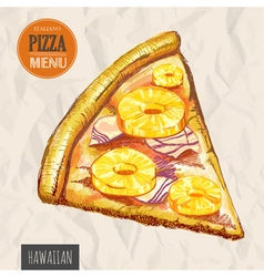 A slice of hawaiian pizza vector