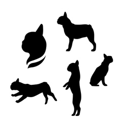 French bulldog silhouettes vector