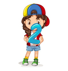 Little girl holding number two vector