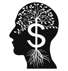 Human head money tree vector