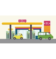 Flat landscape with gas station oil car cafe vector