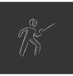 Fencing drawn in chalk icon vector