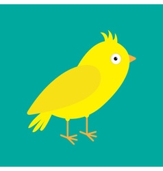 Yellow canary bird green background flat design vector