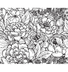 Floral seamless pattern with hand drawn peony vector image