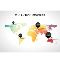 Abstract world map with tags points and vector