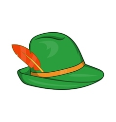 Green hat with a feather icon cartoon style vector