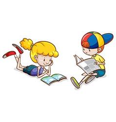 A girl and a boy reading vector image