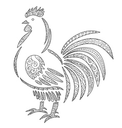 Adult antistress coloring page with rooster vector
