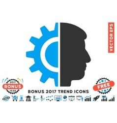 Android robotics flat icon with 2017 bonus trend vector