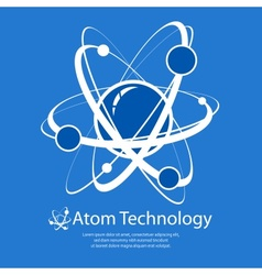 Atom on blue text vector
