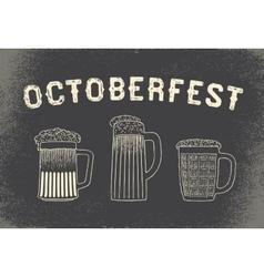Beer set for octoberfest vintage sketch and old vector
