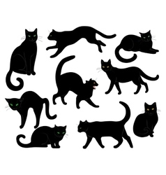 black cats set vector image