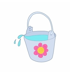 Bucket of water for the garden icon cartoon style vector