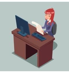 Businessman at desk working on computer cartoon vector