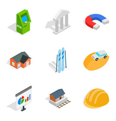 Capital expenditure icons set isometric style vector