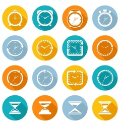 Clock icon flat set vector image vector image