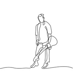 Continuous line drawing of standing guitarist vector