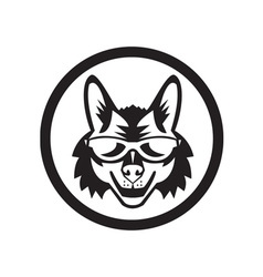 Coyote sunglasses circle retro vector