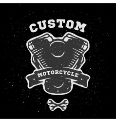 Custom engine hand drawn emblem vector image vector image