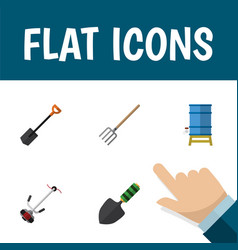 Flat icon farm set of spade trowel hay fork and vector