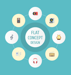 flat icons retro disc earphone mp3 player and vector image