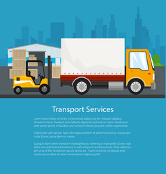 Flyer warehouse and transportation services vector