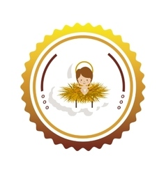 Frame seal sticker with baby jesus cartoon vector