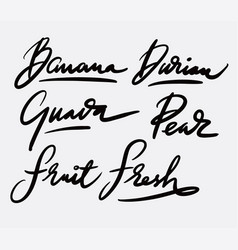 Fresh fruit and guava hand written typography vector