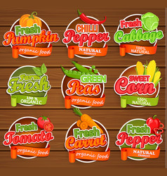 fresh vegetable labels vector image