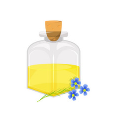 Glass bottle of linseed flax oil organic healthy vector