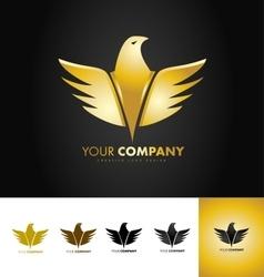 Golden eagle bird logo design vector
