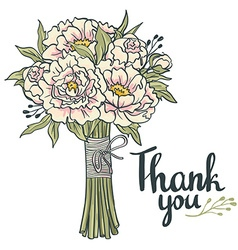 Hand drawn garden floral thank you card hand drawn vector
