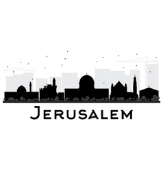 Jerusalem city skyline black and white silhouette vector