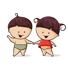 Little boy and girl vector