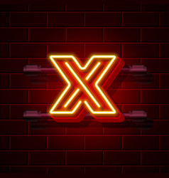 Neon city font letter x signboard vector