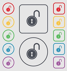 Open lock icon sign symbol on the round and square vector