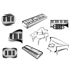Outline sketch piano music icons vector image