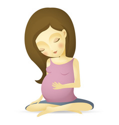 pregnant woman sitting peaceful cartoon vector image vector image