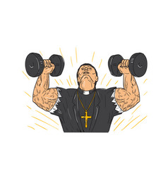 ripped priest exercise dumbbell drawing vector image vector image