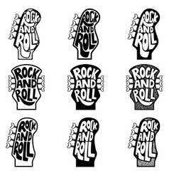 Rock and roll set of hand drawn phrase on guitar vector