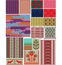 Set crocheted backgrounds Traditional style vector image vector image