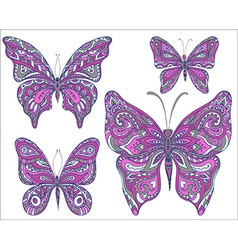Set of pink ornamental butterflies isolated on vector