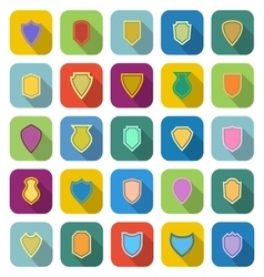 Shield color icons with long shadow vector
