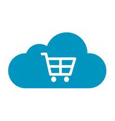 Thin line cloud cart icon vector