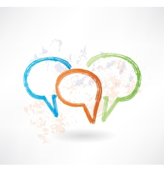 Three coloured speech bubbles Brush icon vector image